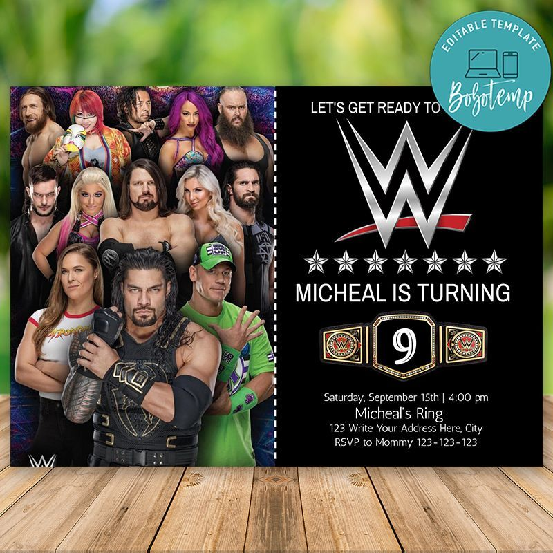 Editable Wwe Wrestling Birthday Invitation With Photo Diy Wrestling Birthday Birthday Invitations Wwe Birthday Party