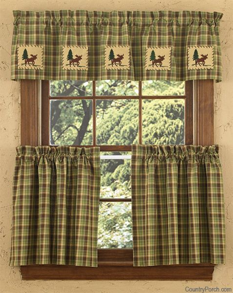 Juniper Lined Moose Curtain Valance Rustic Curtains Curtains Cabin Decor