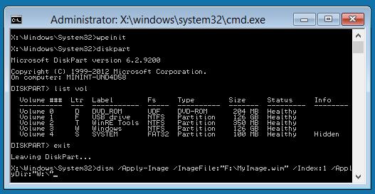 windows pe command-line | WinPE live boot USB | Vmware