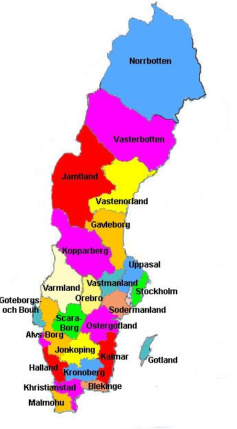 Government: Sweden is made up of 21 counties Blekinge, Dalarna, Gavleborg,  Gotland