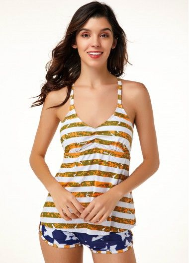 Patriotic 4Th Of July American Flag Print Tankini With Shorts Cutout Striped Orange Tankini Top and Blue Shorts 3