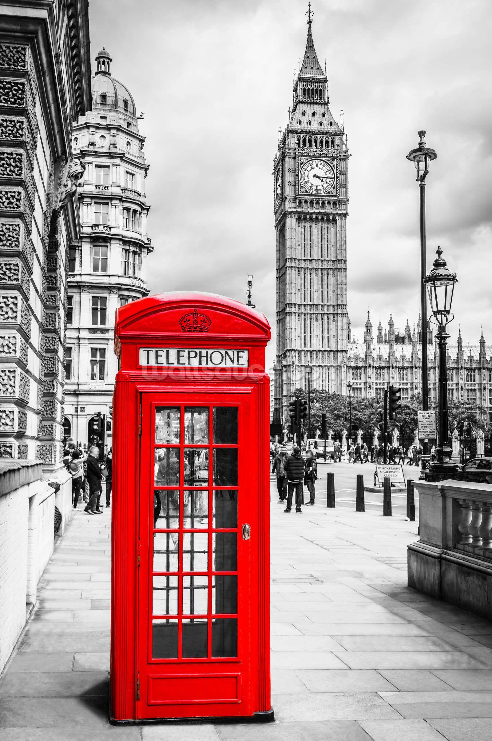 London Telephone Box Wallpaper Mural Wallsauce Uk London Telephone Booth London Wallpaper London Canvas Wall Art