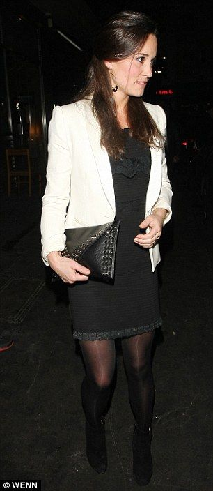 Out of the shadows: Pippa Middleton steps out in a monochrome ...