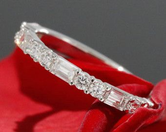 Halfway Diamond Wedding Band Baguette Diamond by KaratJewelryGroup