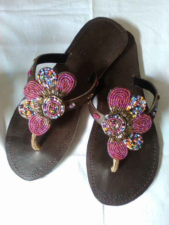 Arabesque African Kenyan Handmade Leather Beaded Sandals