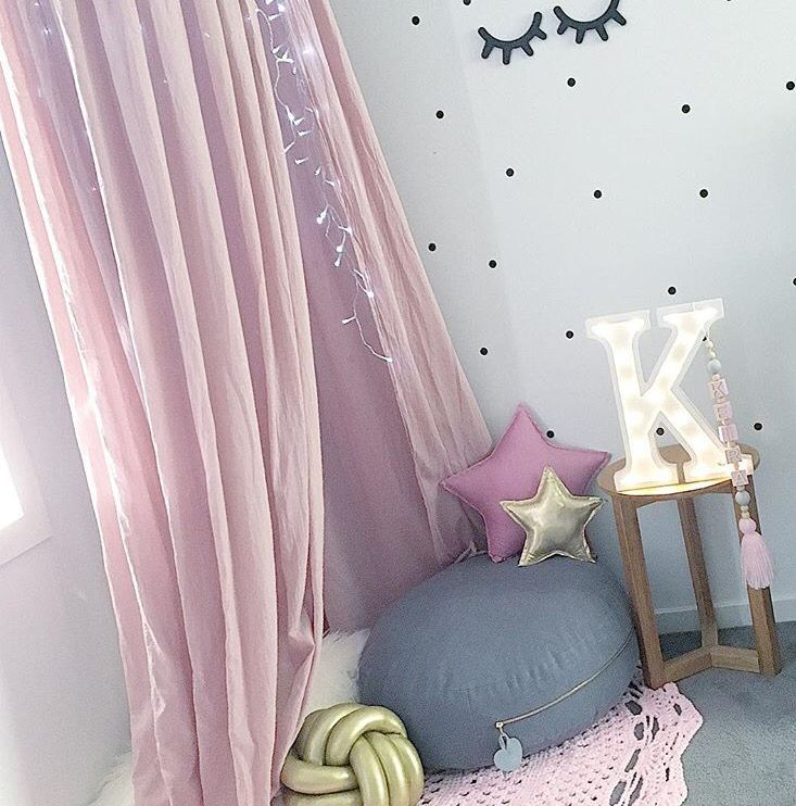Love this little girls corner bedroom space, how dreamy! Some of our old design letter lights are still available on sale www.minimarqueelighting.com.au