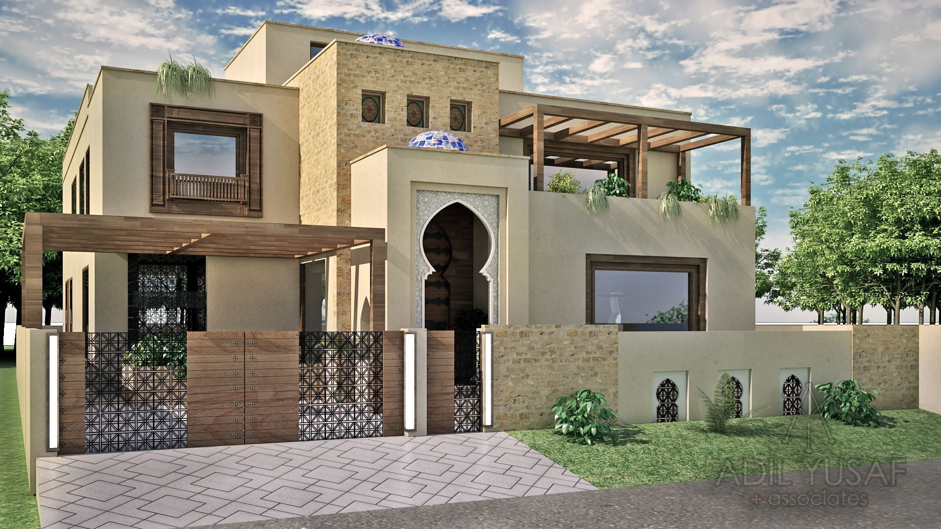 Moroccan Style Residence By Adil Yusaf Associates 1 Kanal House House Design Facade House Morrocan House