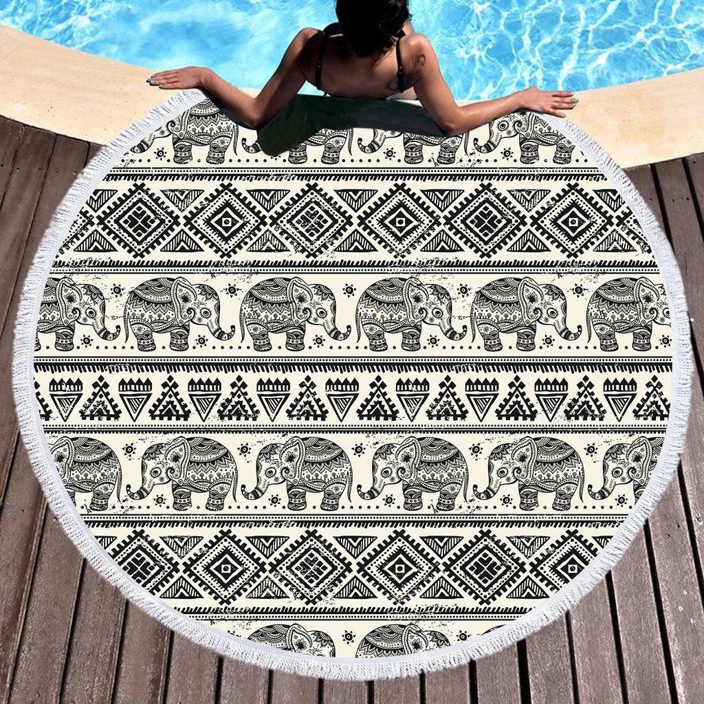 3d Printing Elephant Round Bohemian Beach Towel Tapestry Blanket