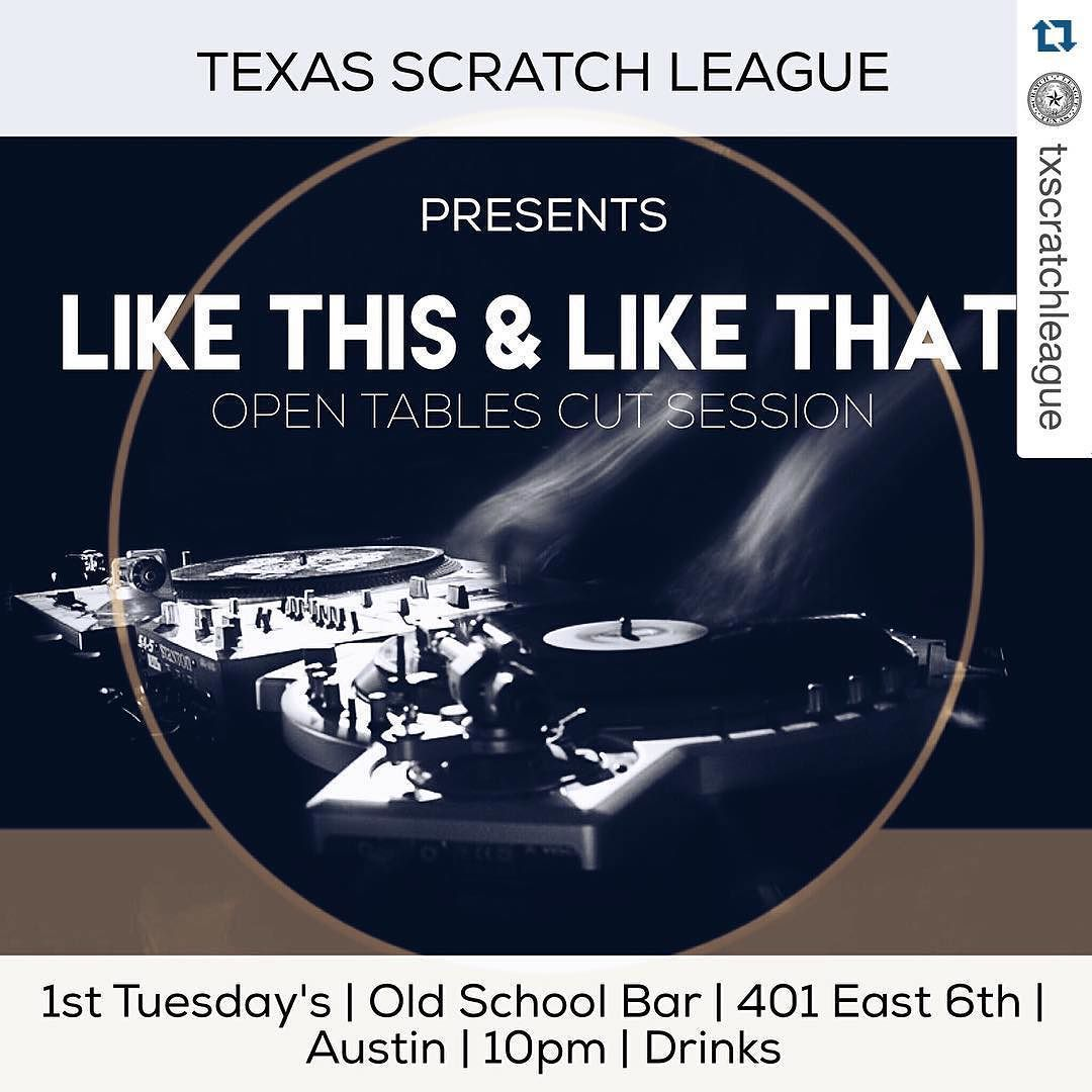 Support!!! #Repost @txscratchleague with @repostapp.  Don't forget! First Tuesday's we cut! January 5th in downtown Austin TX our monthly session returns! @oldschoolbaratx  First Tuesday's | Open tables | 10pm #txscratchleague #turntablism #turntablist #practiceyocuts by art_of_skratch http://ift.tt/1HNGVsC