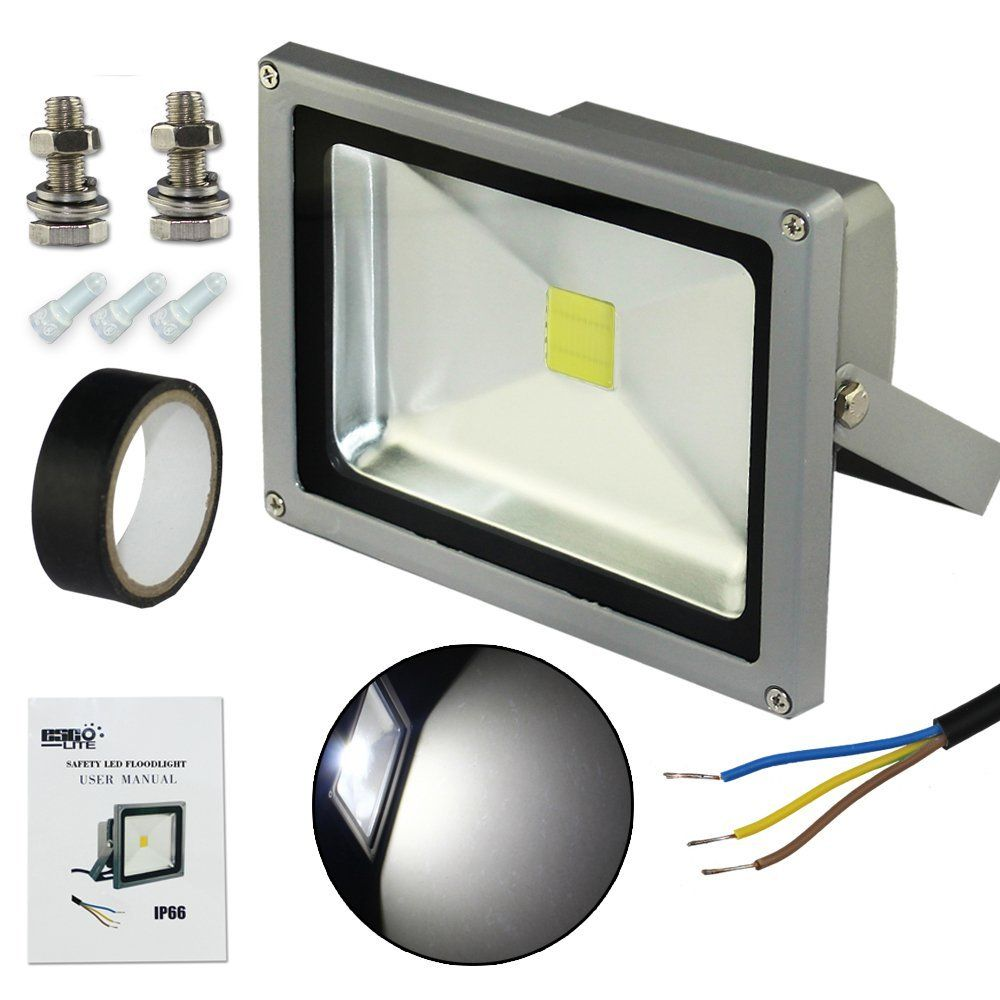 EscoLite Waterpoof Outdoor Security 20W White LED Floodlight Kits