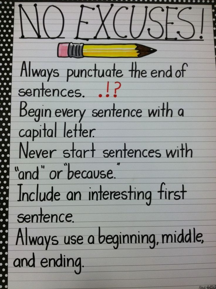 I NEED to make a poster of this!! Writing anchor chart No Excuses - make a t chart in word