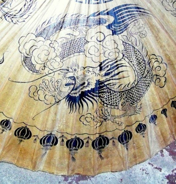 Vintage Parasols | Vintage oriental oilskin parasol, dragons and lanterns pattern