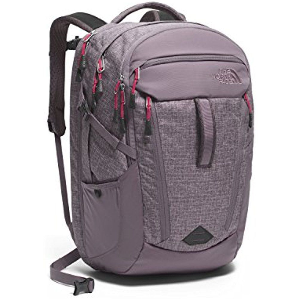 8c57b3991 The North Face Surge Backpack Women's Rabbit Grey Heather/Cerise ...
