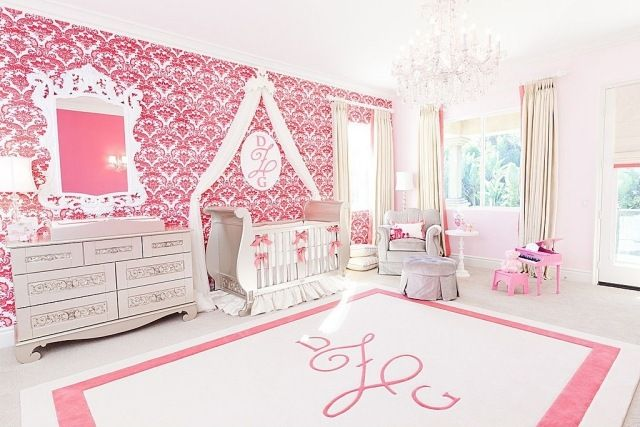 Babyzimmer mädchen modern  babyzimmer mädchen rosa weiß wandtapete barockmuster | Babyzimmer ...