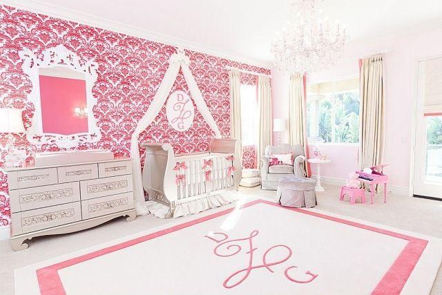 babyzimmer mdchen rosa wei wandtapete barockmuster
