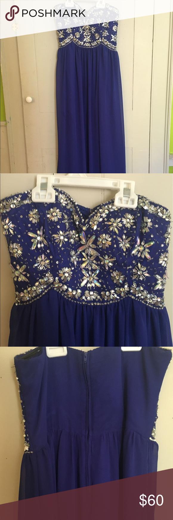 Blue prom dress blue long prom dress with jewel design bdarlin