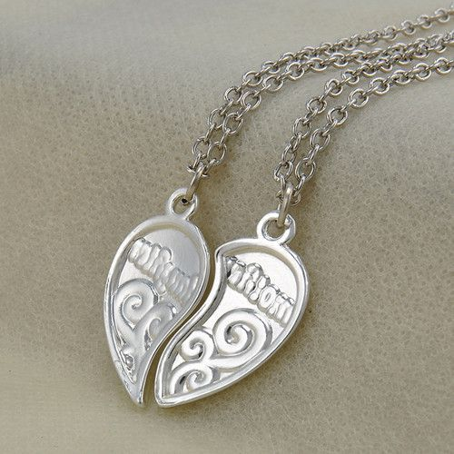 Silver plated 2 piece heart shape mother daughter love pendant silver plated 2 piece heart shape mother daughter love pendant necklace mozeypictures Image collections