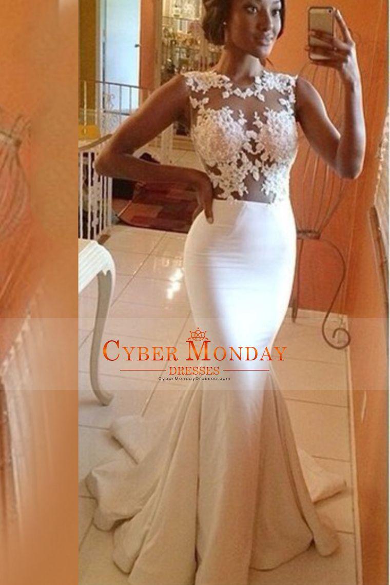 2015 Scoop Mermaid Prom Dresses With Applique