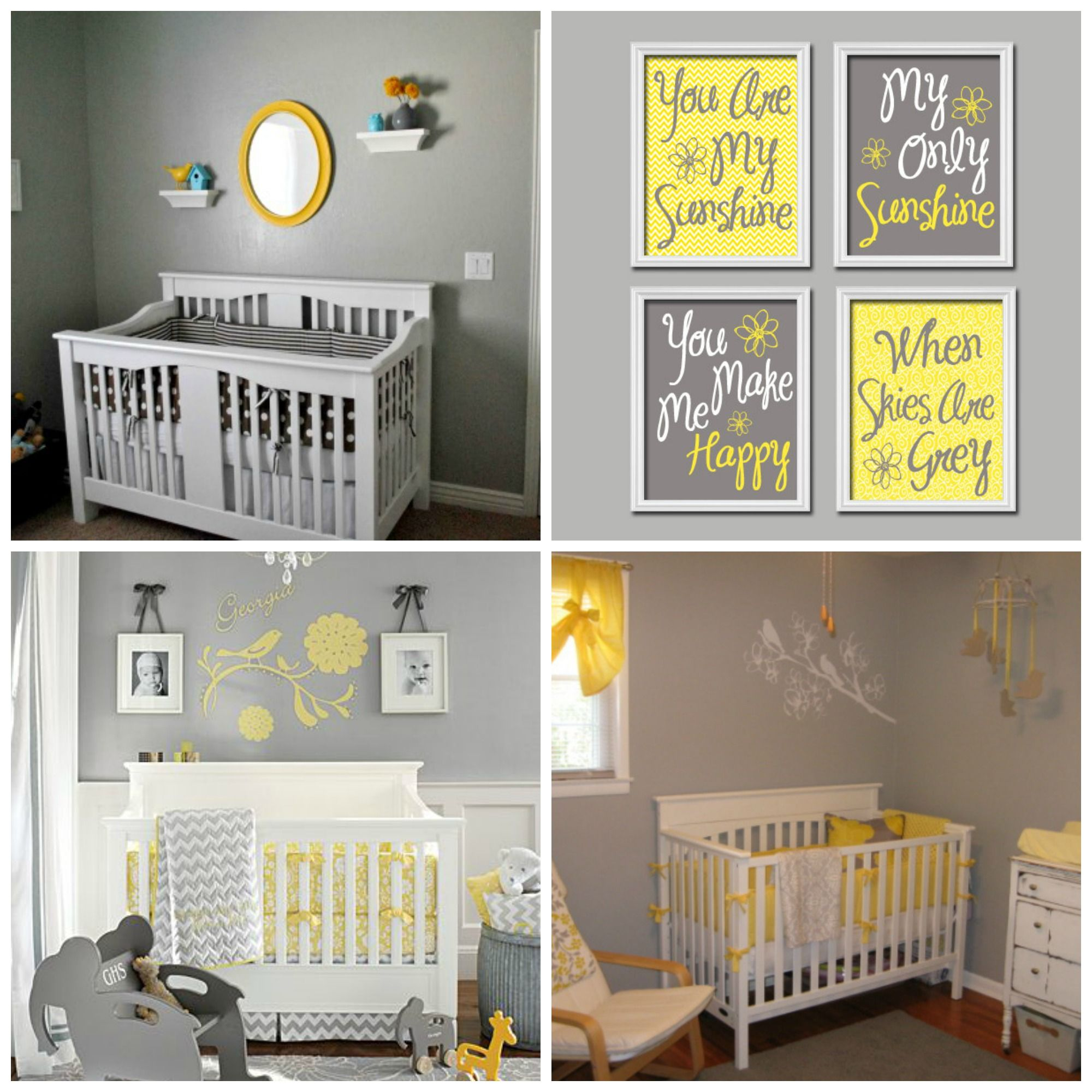 Elephant Twin Nursery Wall Art Nursery Room Decor For Twins: Yellow And Grey Themed Nursery