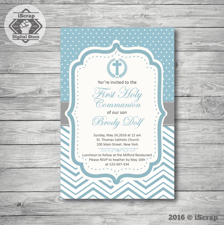 3a89ff8ebff2e Invitación para imprimir bautismo o comunion niño invitación azul  confirmacion invitacion chevron invitacion bautizo COD1 de iscrapdesign en  Etsy