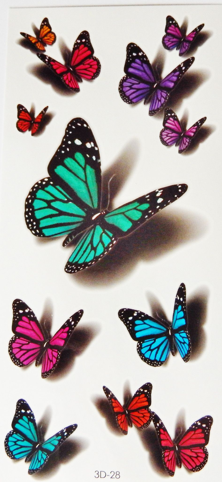 74d561121a877 Colorful 3D Butterflies,Scorpions,Cats Temporary Tattoos | shoulder ...