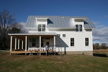 This metal roof is too silvery and too reflective for my for Vermont farmhouse plans
