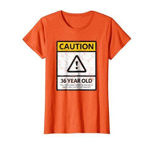 CAUTION 36 Year Old 36th Humorous Birthday T Shirt 1982 G