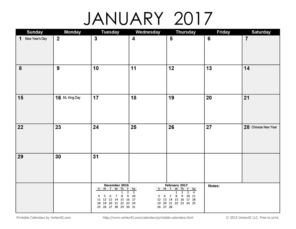 Download A Free Printable Monthly Calendar From Vertex42