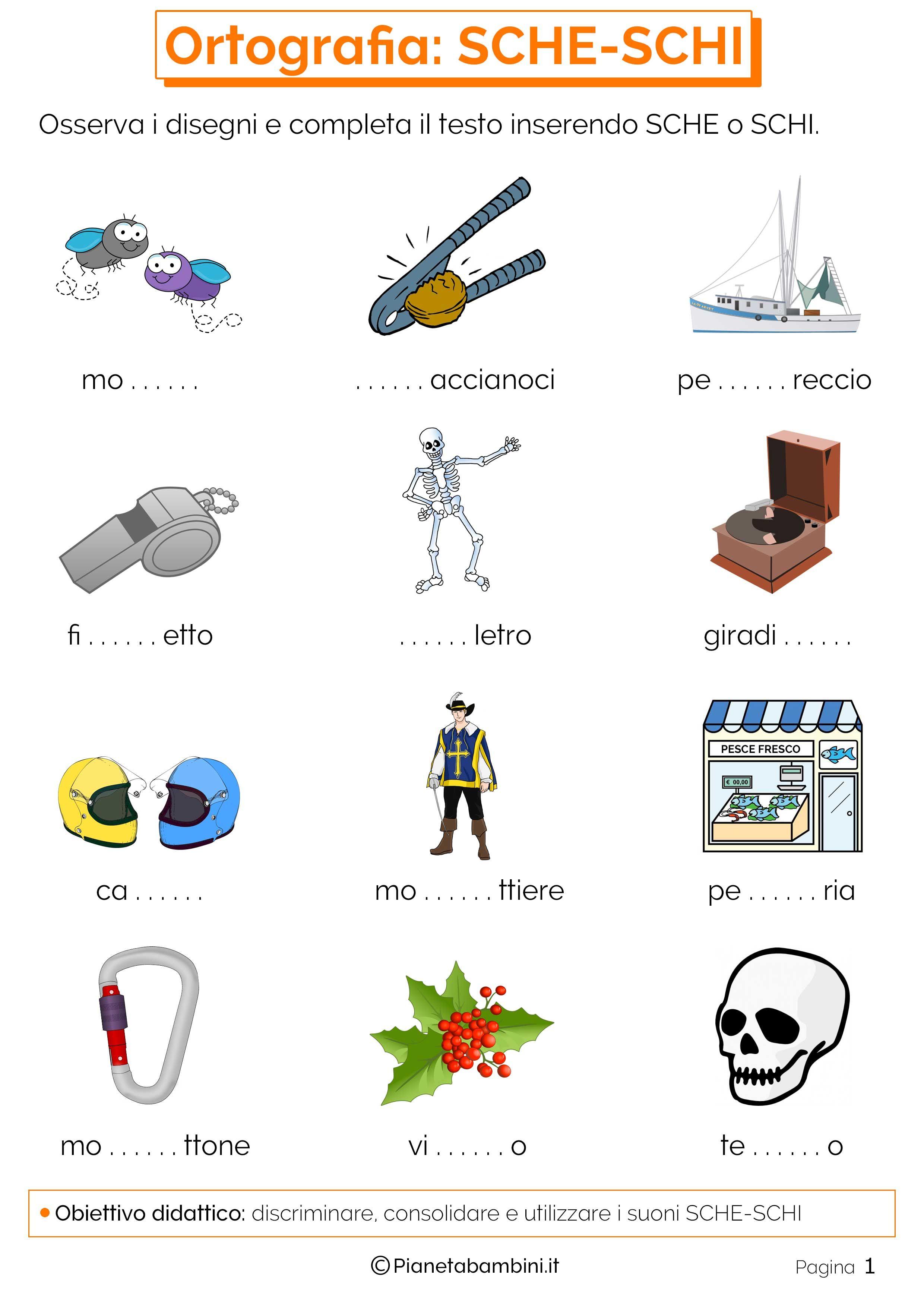 Risultati immagini per schede didattiche sca sco scu schi for Parole con sci e sce per bambini