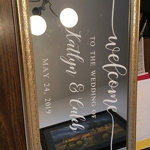 Wedding Welcome Sign /Personalized Couples Names and Dates/Mirror Decal-Bridal Shower/Wedding Welcome Sign/Heart Wedding Mirror Vinyl Decal #weddingwelcomesign