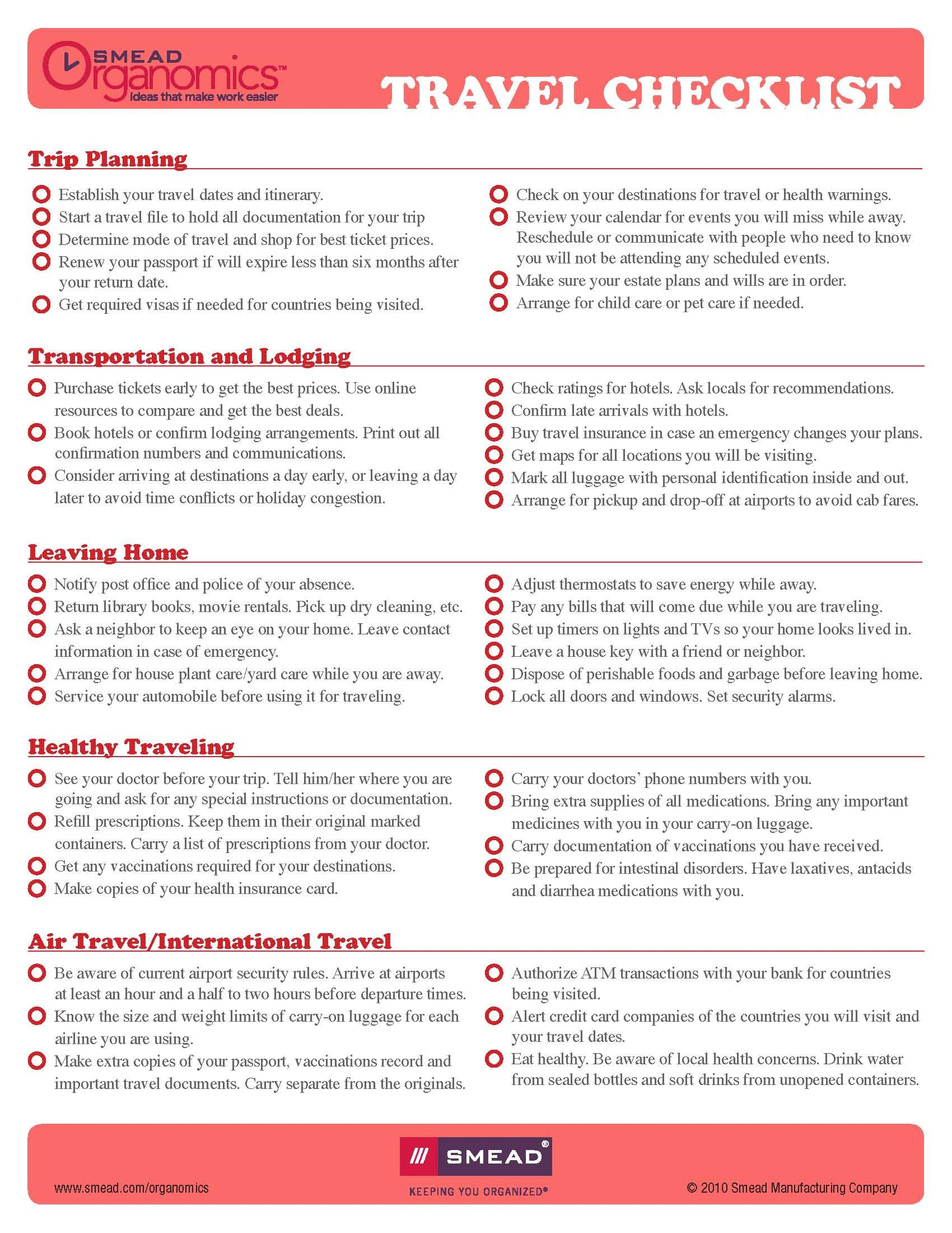 Here Is A Trip Planning Checklist To Ensure Smooth Travels Www