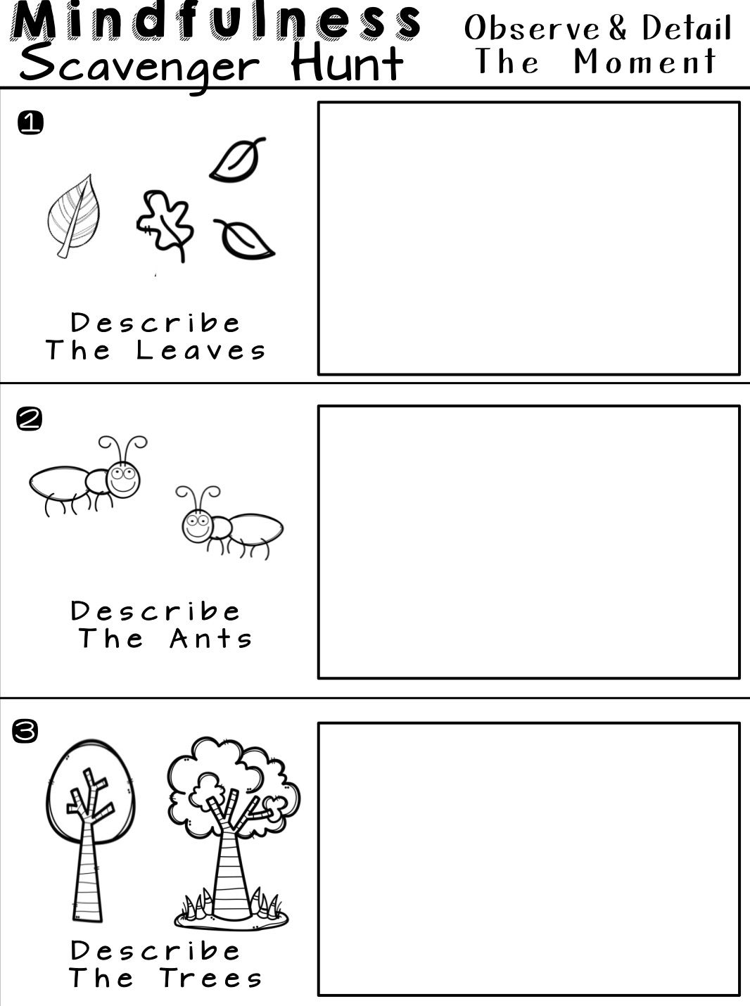 Mindfulness Scavenger Hunt Worksheets For Relaxation And Calm