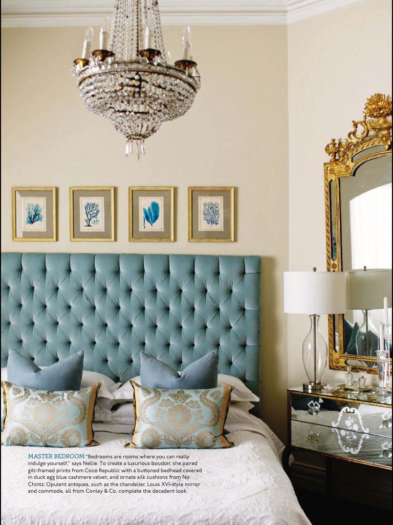 astonishing blue gold bedroom   Love a robin's egg blue velvet headboard.   Robin's Egg ...