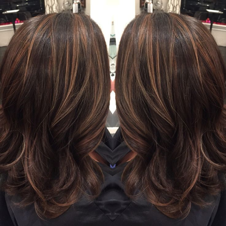 Brown Hair With Caramel Highlights Dark Highlightidlength Cut By Liz