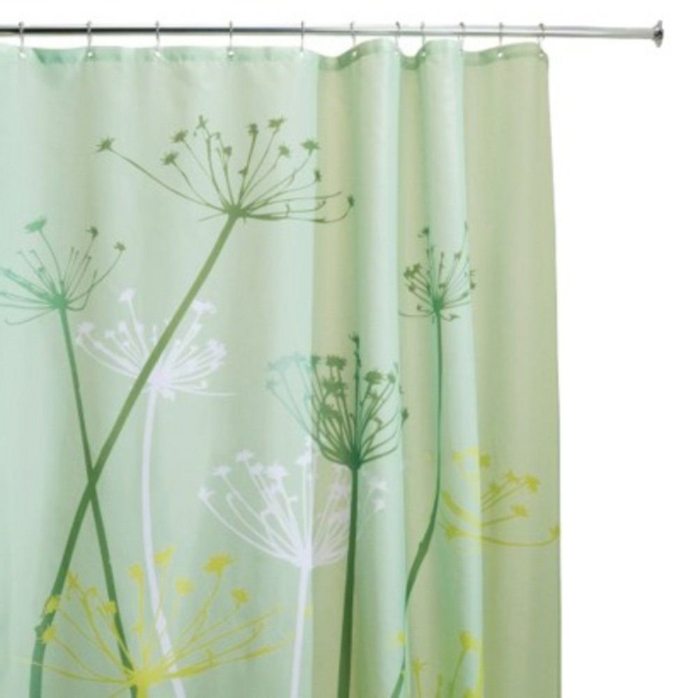 Bathroom Bathtubs and Courtains | HOME Shower Curtain Simple Shower Curtain in White and Green Motives