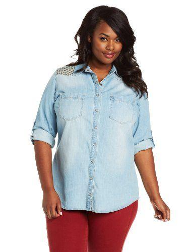 138d39cd23d Democracy Women s Plus-Size Plus Denim Button Up with Nailhead Detail