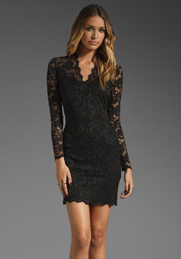 e9fb9734684 Black Flowery Lace V Neck Long Sleeve Bodycon Dress | Cute clothes ...