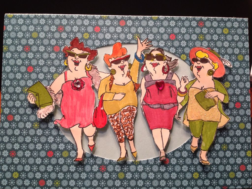 Girlfriends make the best accessories stamp.   Fun to embellish their wardrobes. This card is 6.5 x 4.5.