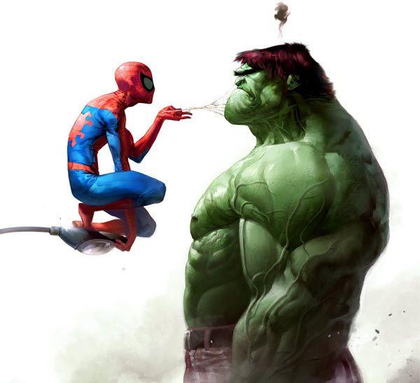 40 Superheroes Artworks That Make You Go Awww Hongkiat Spiderman Vs Hulk Comic Art Marvel