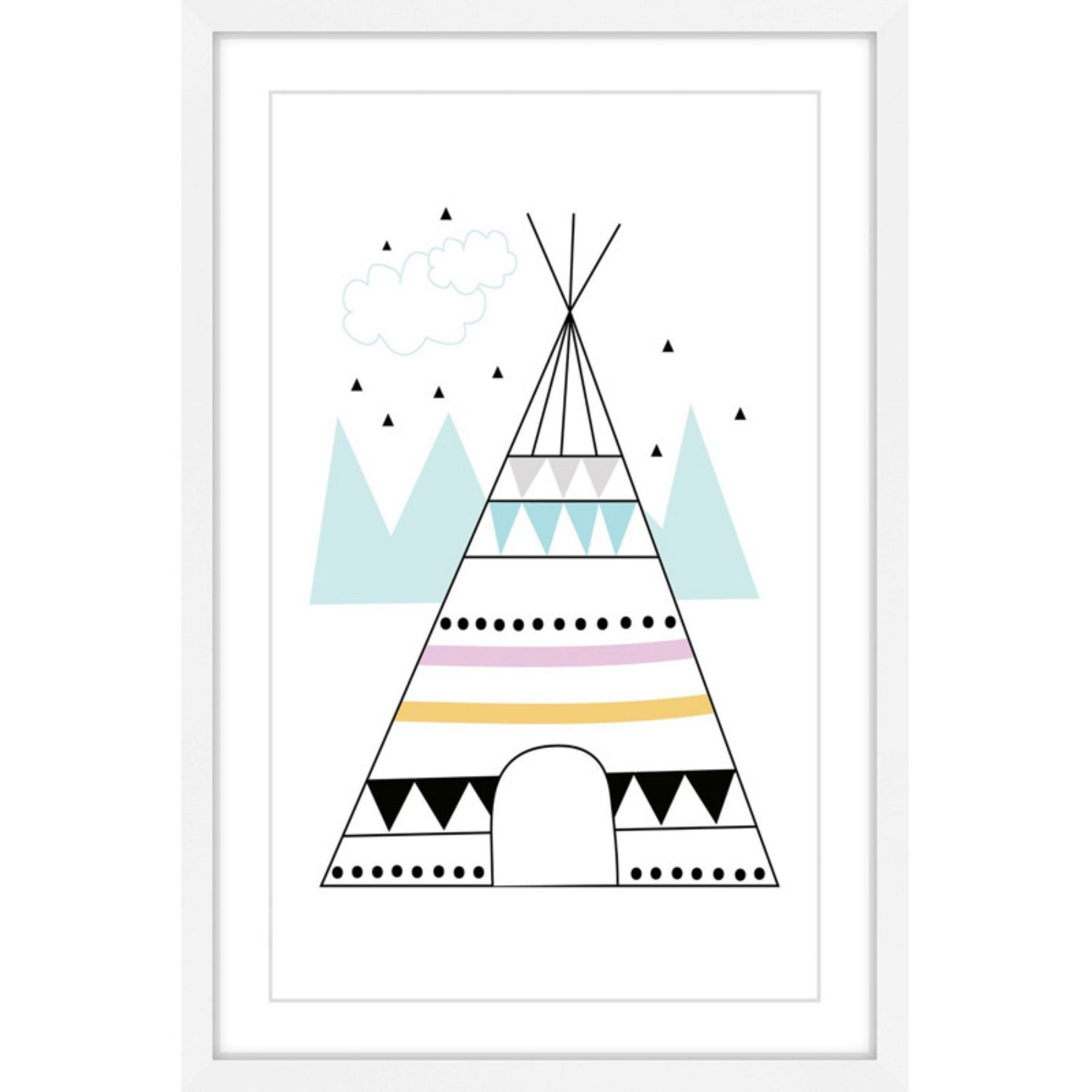 Marmont Hill Colorful Teepee Framed Painting Print - MH-SNYGG-26-WFP-18