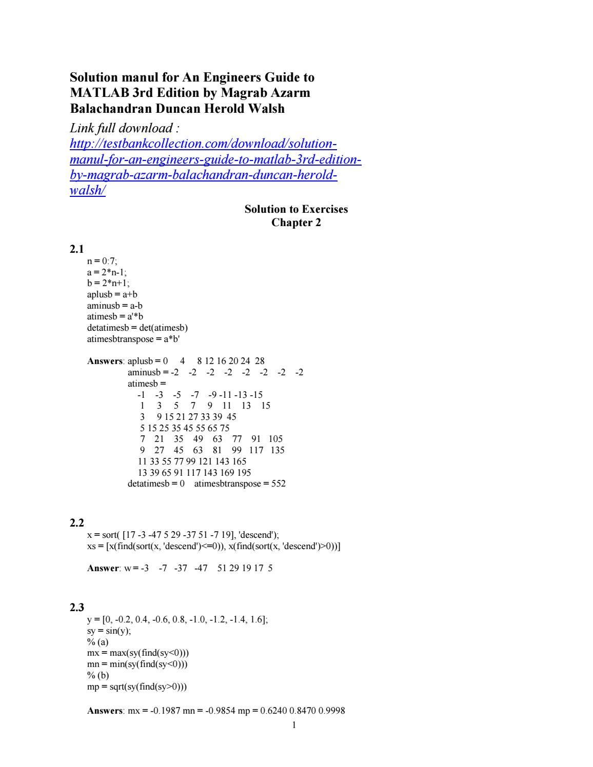 download solution manual for an engineers guide to matlab 3rd rh pinterest com MATLAB Meme MATLAB Program Examples
