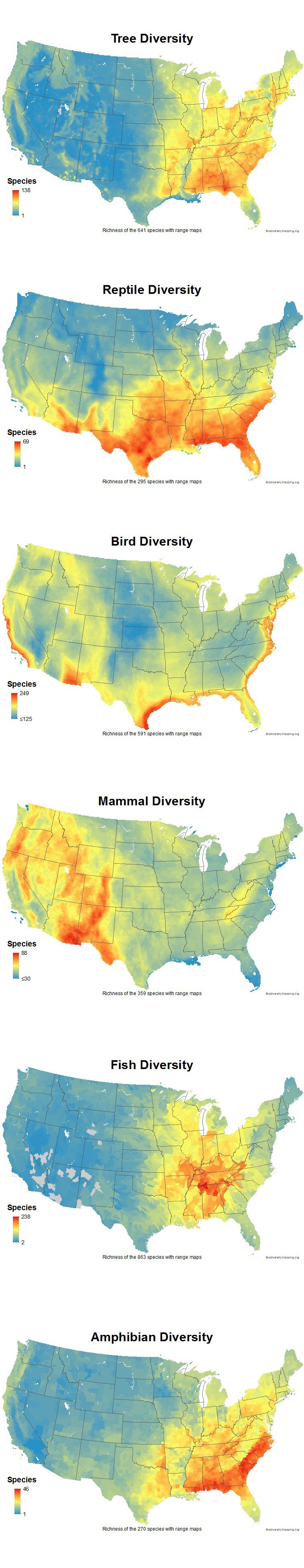 Biodiversity In Contiguous United States Just Cool Pinterest - Amphibian us map