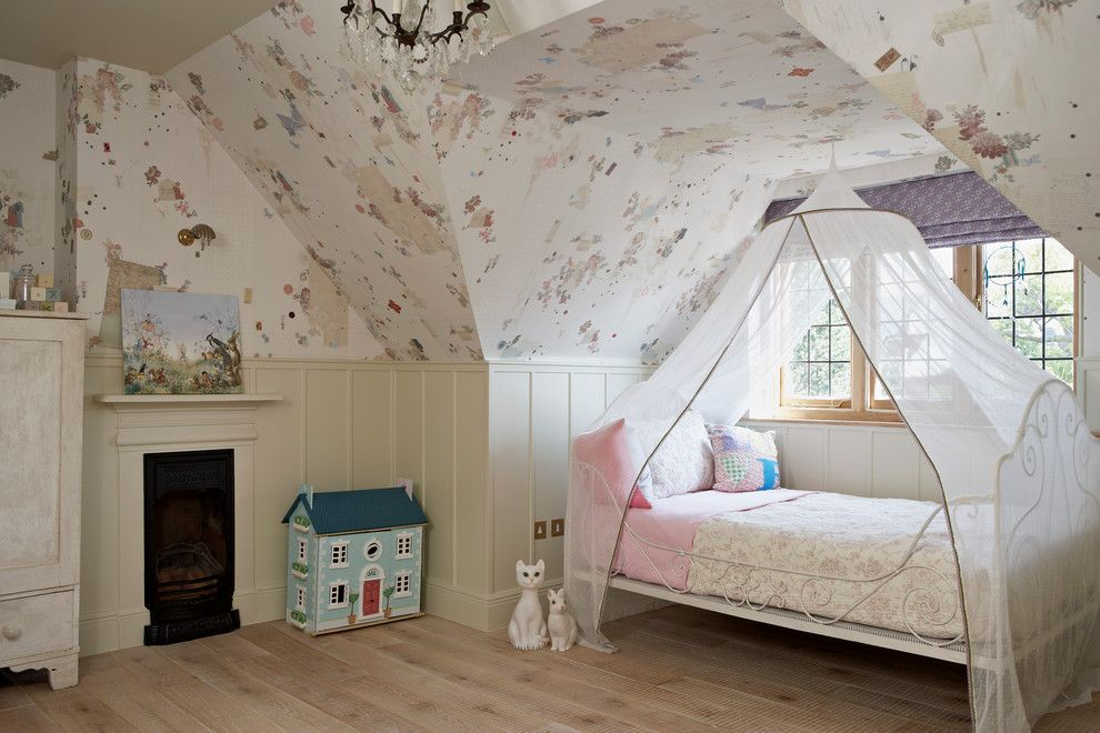 flaunting kids bedroom in london residence godrich interiors with vintage floral wall decal and adorable bed with canopy - Traditional Kids Room Interior