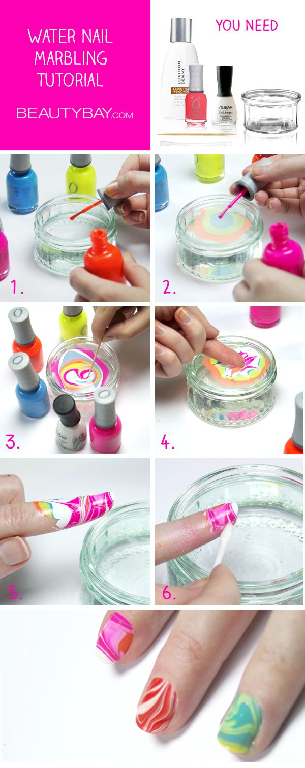 Top 10 fun and easy nail tutorials tie dye nails tie dye and dyes easy water marble nail art technique prinsesfo Choice Image