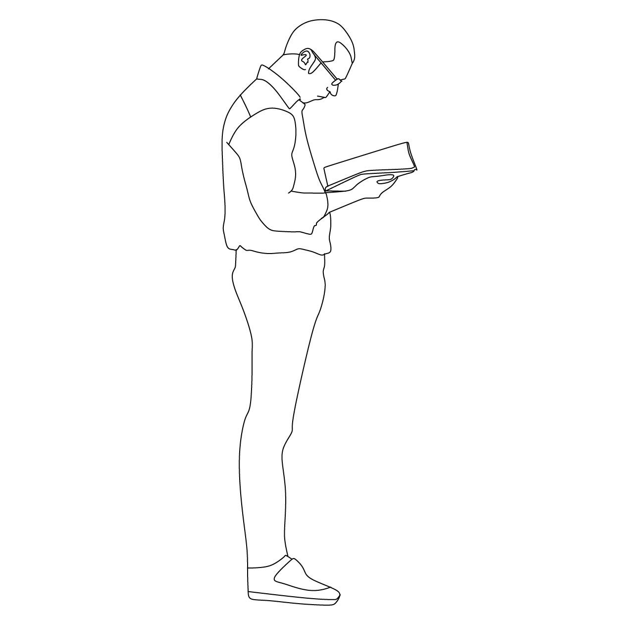Man Reading A Book Silhouette Architecture Silhouette People Drawing People