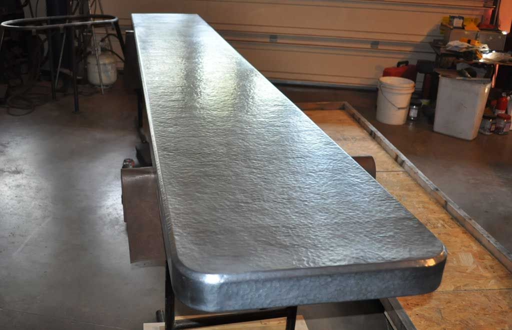 Hammered Zinc Countertop Custom Crafted Using Raw Zinc Hand Hammered With Beveled Edge And Rounded Co Zinc Countertops Countertops Outdoor Kitchen Countertops