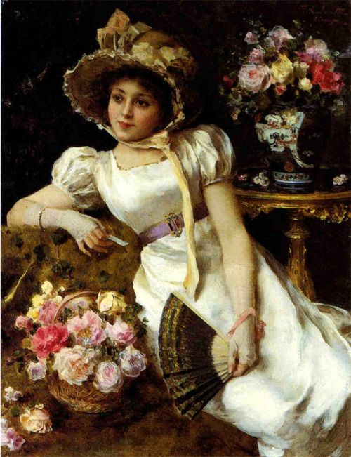 ⊰ Posing with Posies ⊱ paintings & illustrations of women & children with flowers -  Federico Andreotti