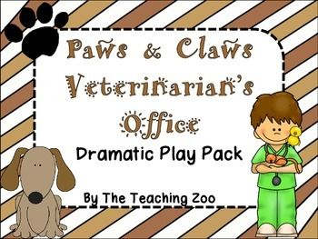 Veterinarian S Office Pet Vet Clinic Dramatic Play Kit And Learning Center Pack Veterinarian Office Dramatic Play Kit Dramatic Play