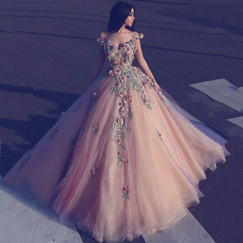 Barato 2017 Arábia Árabe Rosa Tulle Ball Vestido Prom Vestidos com ...