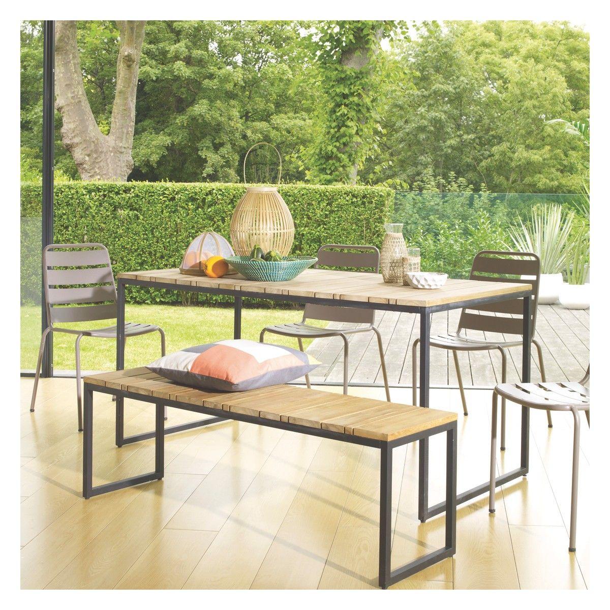 Raven 6 Seat Teak And Metal Garden Table Metal Garden Table And Metal Garden Chairs